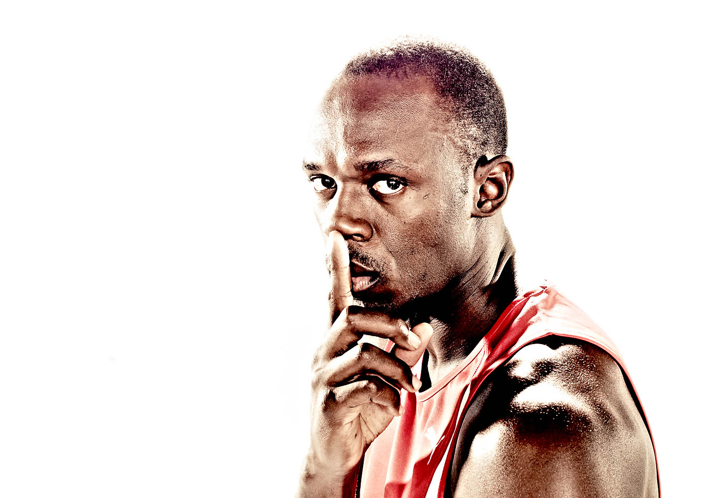 portrait photo of Usain Bolt on white background